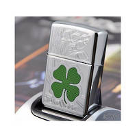 Zippo High Polish Chrome Shamrock Lighter