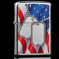 ZIPPO Flag and Dog Tags High Polish Chrome Lighter