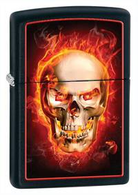 Zippo Burning Skull, Black Matte Lighter