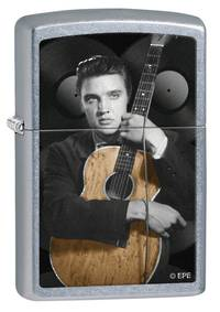 ==FREE FUEL==Zippo Elvis Presley Guitar Street Chrome Lighter