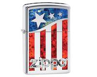 Zippo US Flag Polished Chrome Lighter