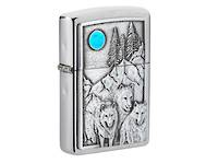Zippo Wolf Pack and Moon Emblem Design Lighter