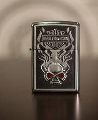 Zippo Harley Davidson Skull Red Eyes Lighter