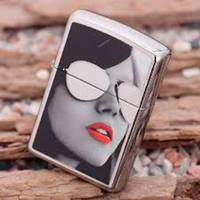 Zippo Girl with Reflective Sunglasses and Red Lipstick Chrome Lighter - 28274