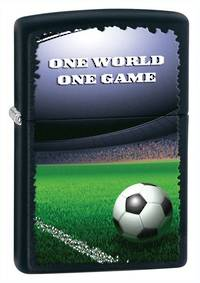 ==FREE FUEL==Zippo Football in Stadium, Black Matte Lighter