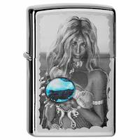 Zippo Mermaid and Orb Brushed Chrome Lighter