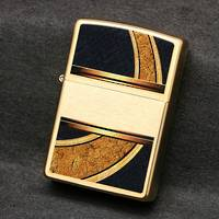 Zippo Gold and Black Brushed Brass Lighter