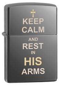 Zippo Keep Calm Design Black Ice Lighter - 29610